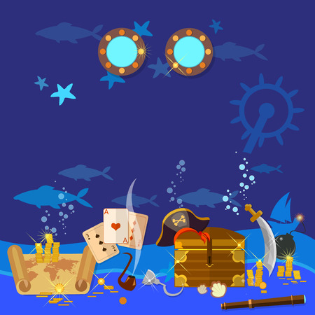 portholes: Underwater treasure pirate chest with gold vector illustration Illustration