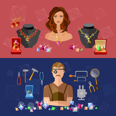 jewelry store: Jewelry banners sale precious stones jeweler in workplace jewelry store vector illustration