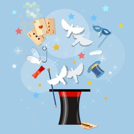 miracles: Magic hat showing tricks miracles vector illustration