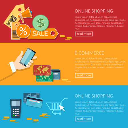 transactions: Online shopping banners e-commerce transactions processing of mobile payments from credit card