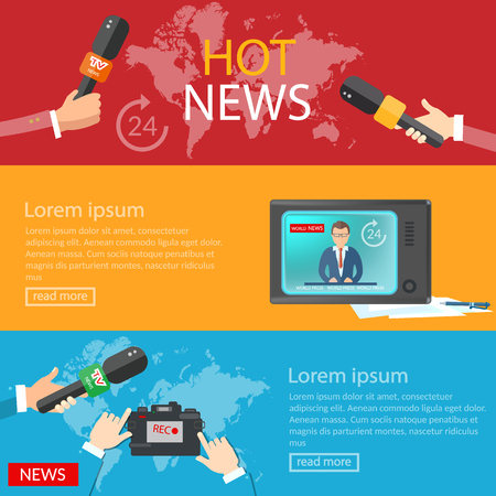 world news: World news banners global online telecommunications tv radio live vector illustration