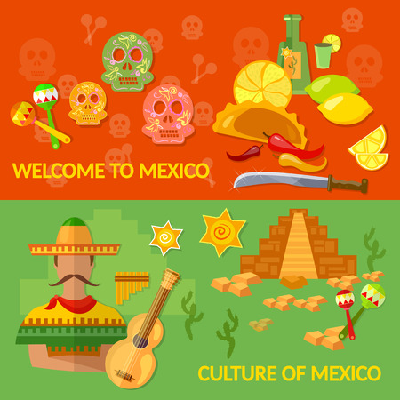 machete: Welcome to Mexico banners Mexican culture and Mexican food tequila sombrero vector illustration Illustration