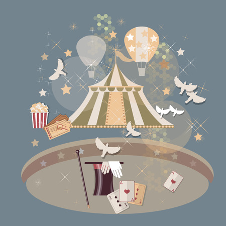 arena: Circus arena tickets magic tricks vintage vector illustration