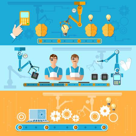 robot: El montaje y la producci�n de ordenadores Banderas del vector de la cinta transportadora Robots de la automatizaci�n de la planta Vectores