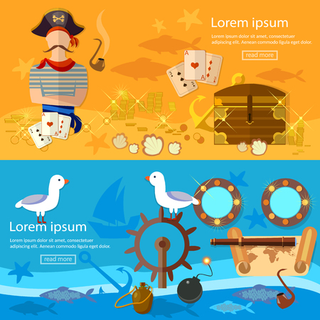 portholes: Pirate adventure banners treasure chest flask of rum seagull pirate ship vector illustration