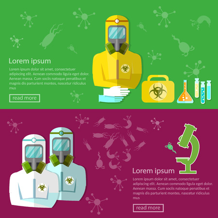 viruses: Biohazard biological threat banners epidemic disease protection bacteria and viruses vector illustration Illustration