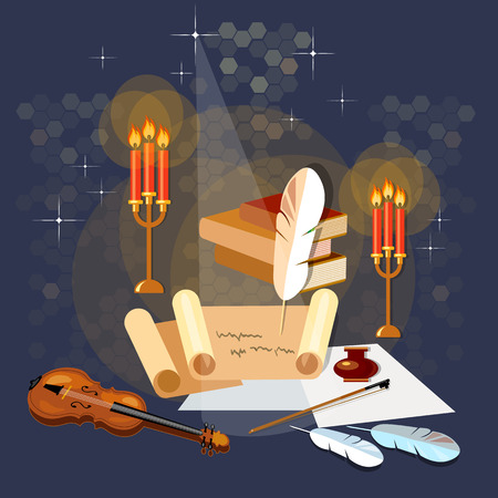 poetry: Literature poetry ancient scroll paper magic poster old book mystic bright light vector illustration Illustration