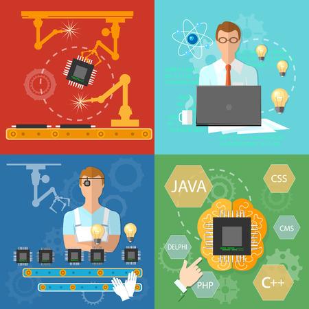 Industrielle automatisierte Fertigungslinie Prozess Computer-Programmierer Bediener Förderer der Mikrochipproduktion Vektor-Illustration der Montage Standard-Bild - 51915082