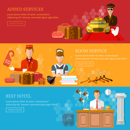 hospitality staff: Hotel service banner reception reservation cleaning concierge taxi driver vector illustration