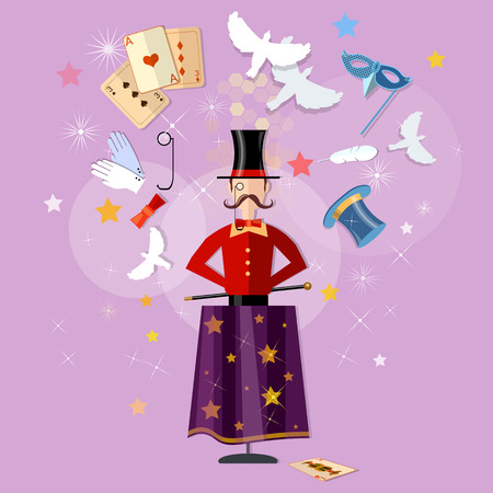 focuses: Magician circus shows tricks focuses magical performance vector illustration