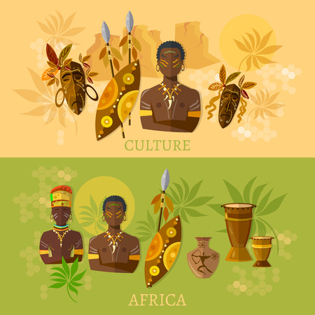 Africa African culture and traditions african tribes vector banners