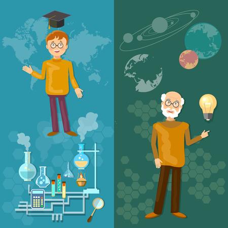 pedagogy: Science and education teachers school board schoolboy professor astronomy chemistry laboratory experiments vector banners Illustration