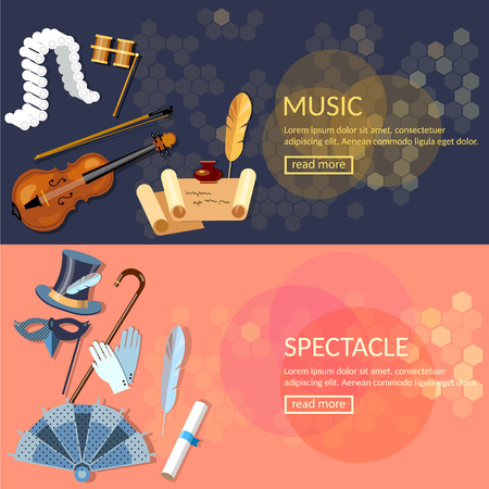 Theatre flat banner set with actors performance musical opera dramaturgy vector illustration