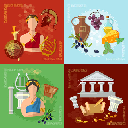 Ancient Greece and Rome tradition and culture vector set collection Vettoriali
