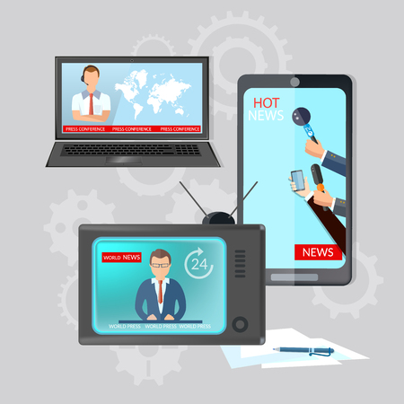 world news: World news global online telecommunications TV radio live news on your mobile vector illustration