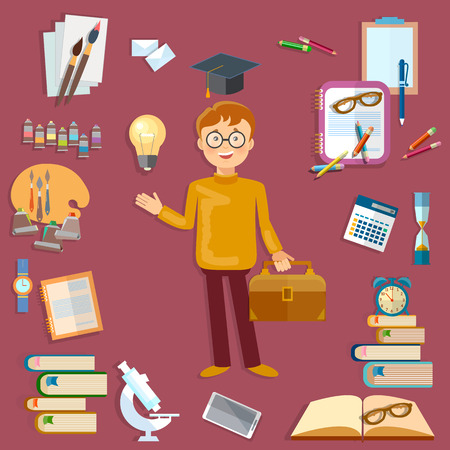 graduation cap: Education student and school tools back to school vector illustration Illustration