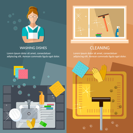 clean carpet: Cleaning service banners washing windows home cleaning washing dishes vector illustration Illustration