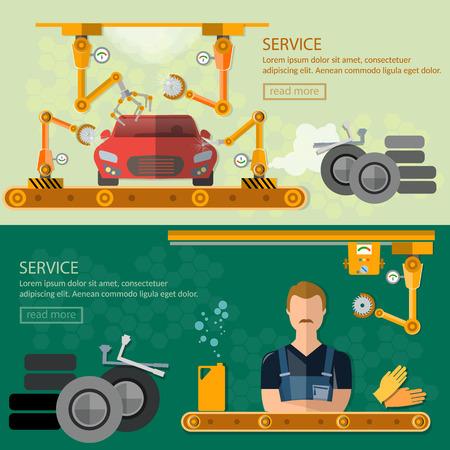 assembling: Assembling cars factory car repair banners conveyor belt operator automate process vector illustration Illustration