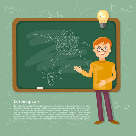 people on background: Education time back to school schoolboy in a school board vector illustration