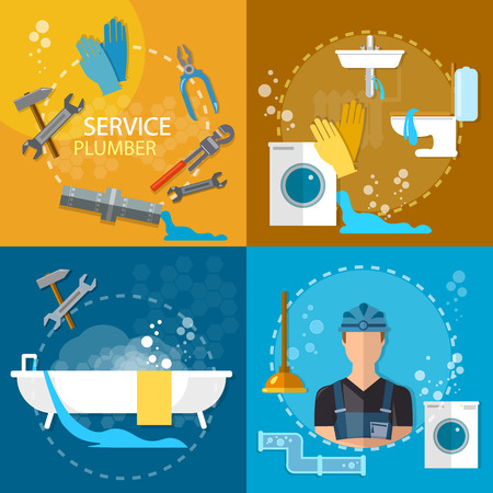 Plumbing repair service professional plumber different tools and accessories vector set
