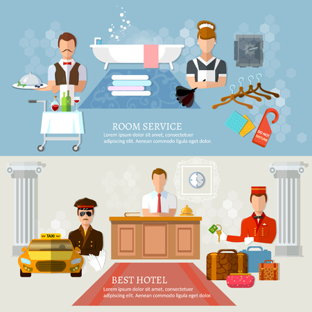 hotel staff: Hotel service banners professional hotel staff vector illustration