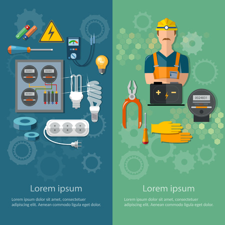 electric power: Professional electrical banners electricity energy electric tools and equipment vector illustration