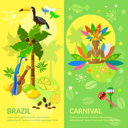 brazilian: Brazil banners Brazilian Carnival Brazilian culture vector illustration