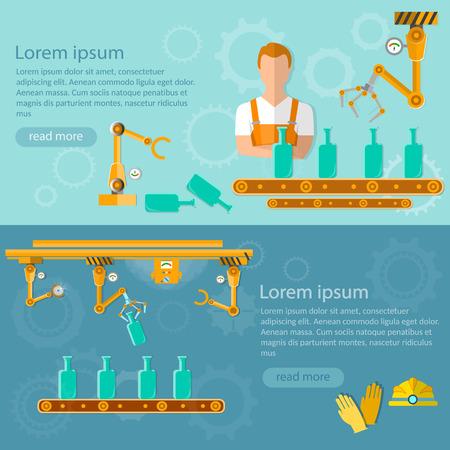 conveyor belt: Conveyor belt banners distillery assembly line vector illustration Illustration