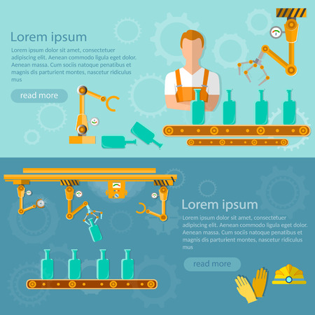 distillery: Conveyor belt banners distillery assembly line vector illustration Illustration