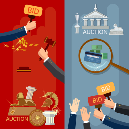 antiques: Auction banners hands and money buying antiques and real estate vector illustration