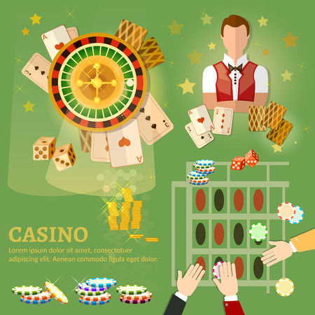 american roulette: Casino vector illustration design with poker game playing cards slots and roulette