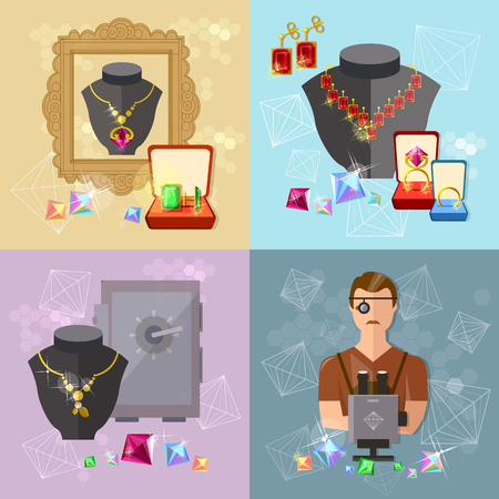 jewelry store: Jewelry set precious jewels jewelry store gems jeweler work vector illustration Illustration