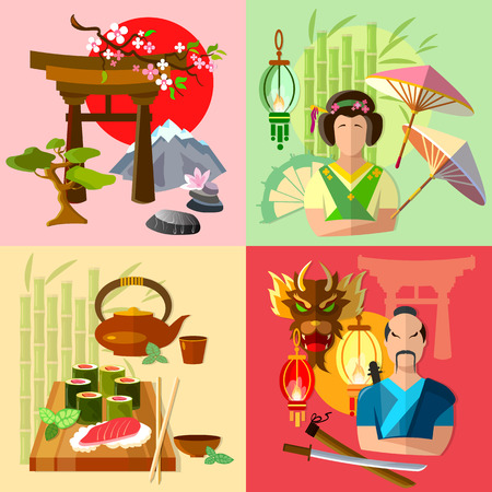 hokkaido: Japan set japanese culture history and tradition vector illustration Illustration