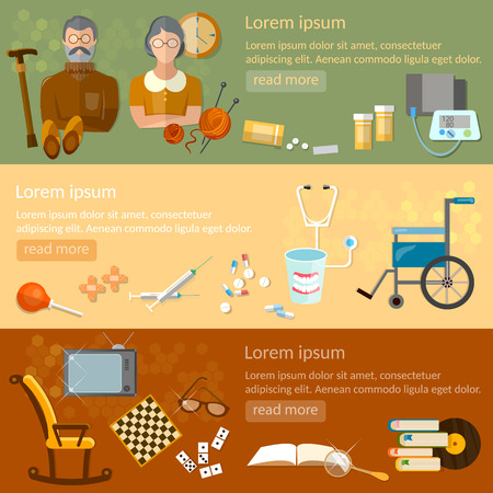 retirement home: Leisure of seniors banners retirement home pension hobbies social care vector illustration