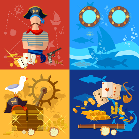 portholes: Pirate adventure set treasure chest flask of rum seagull pirate ship vector illustration Illustration