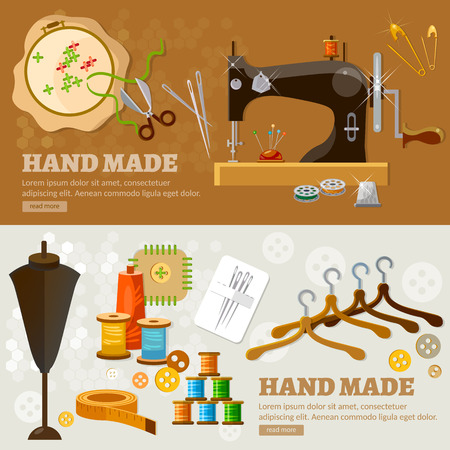 Tailor banners seamstress fashion designer needlework tailoring tools vector illustration