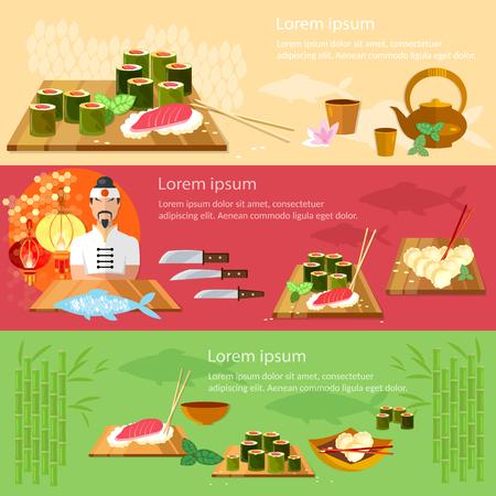 banderas de sushi restaurante de cocina asiática chef prepara ilustración vectorial peces
