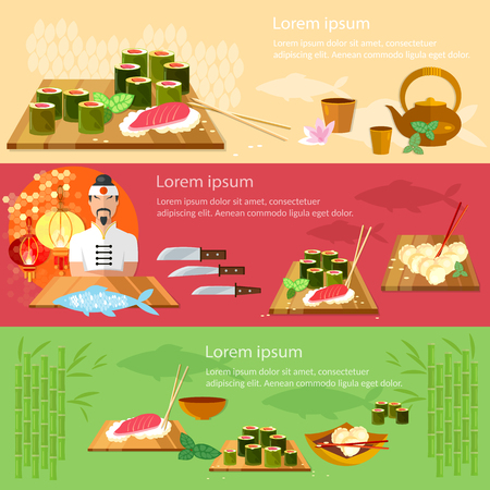 Sushi banners restaurant asian cuisine chef prepares fish vector illustration