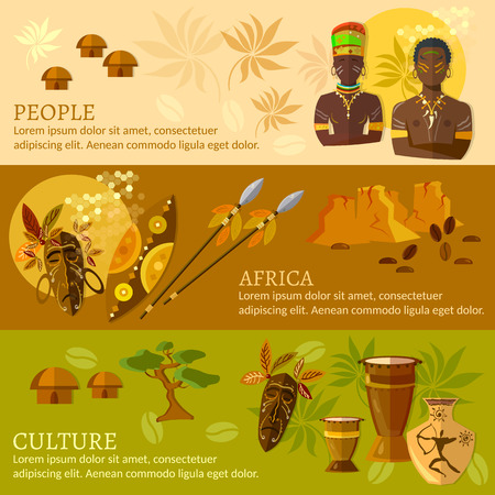 south african: African banners Africa culture and traditions african tribes vector illustration Illustration