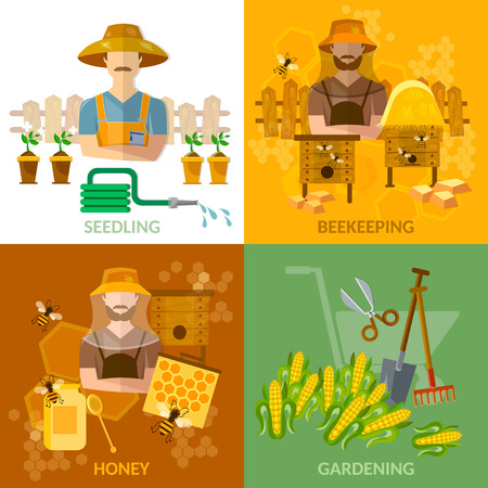 apiary: Gardening and beekeeping set seedling cultivation apiary beekeeper vector illustration