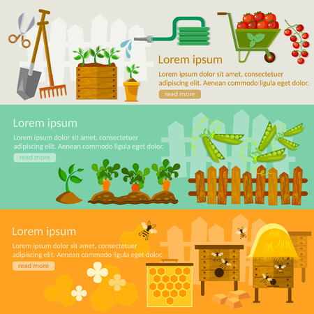 Spring gardening banners seedling cultivation beekeeping root veggies vector illustrations