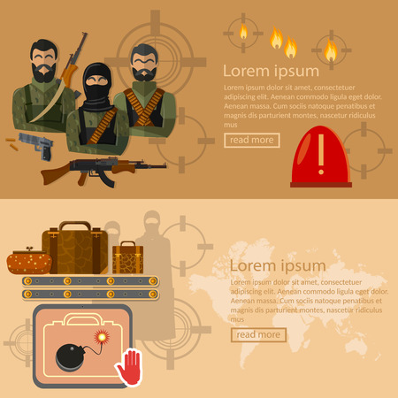 terror: Terrorism banners global threat world terror group terrorists airport security vector illustration Illustration