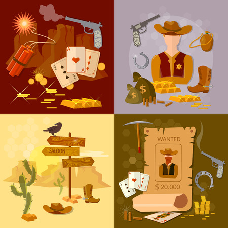 Wild west cowboy set western sheriff bandit vector illustration Stock Illustratie