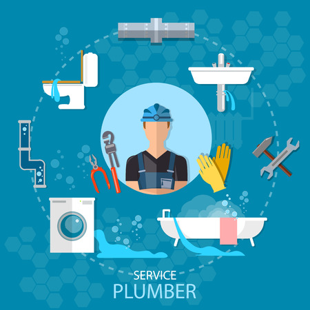 plumbing tools: Professional plumber plumbing repair service different tools and accessories vector illustration
