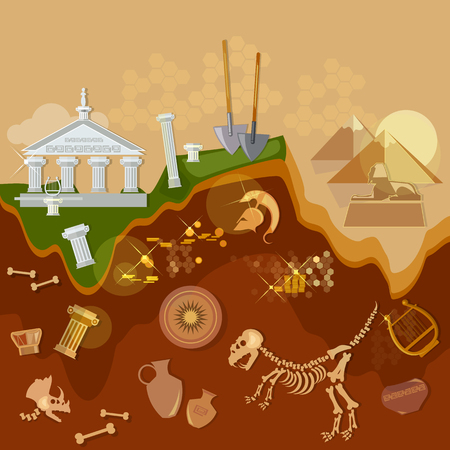 gold shovel: Archeology treasure hunters ancient artifacts archaeological excavations vector illustration