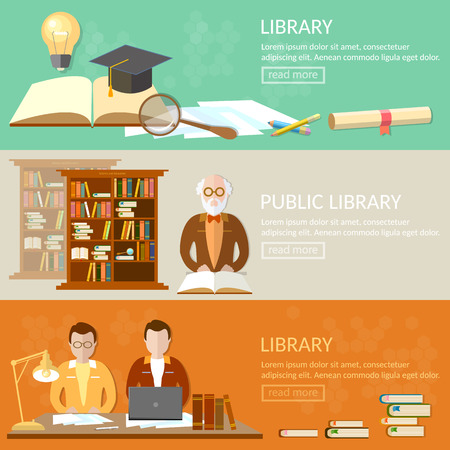 librarian: Public library education banners students reading books librarian in the reading room vector illustration