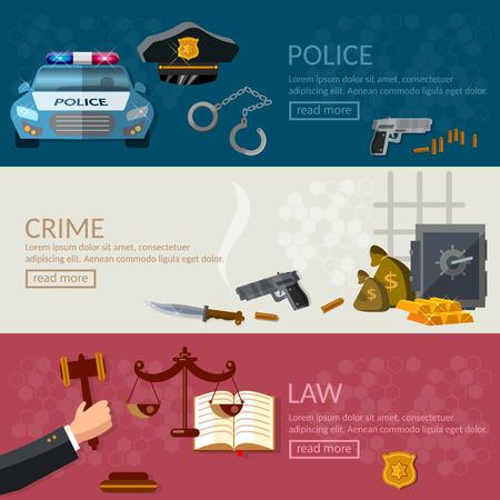 derecho penal: La delincuencia y la justicia castigo banderas del sistema Estado de Derecho la detención de los criminales ilustración vectorial Vectores