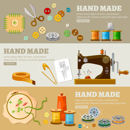 hand in hand: Tailor banners hand made concept fashion houses atelier clothing tailoring tools vector illustration