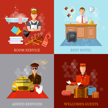 service icon: Hotel service set reception reservation cleaning concierge taxi driver vector illustration