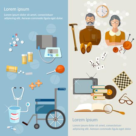 De ancianos pensionistas y Ocio protección social de la ilustración vectorial de edad avanzada